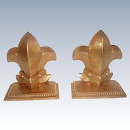 Pair Gilt Fleur De Lis Bookends 20th C