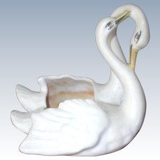 Vintage Camark Pottery Double Swan Vase Marked