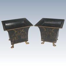Set Of 2 Metal Planters Vintage Black & Gold