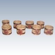 Set Of 8 Rattan Napkin Rings 20th C