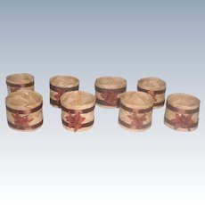 Set Of 8 Rattan Napkin Rings 20th C