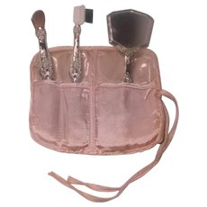 Silver Travel Cosmetic Tools And Velvet Case