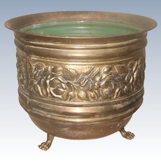 Vintage Brass Planter Footed