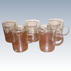 Set of 5 Insulated Glass Mugs Vintage