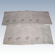 Set Of 9 Hand Embroidered Linen Napkins