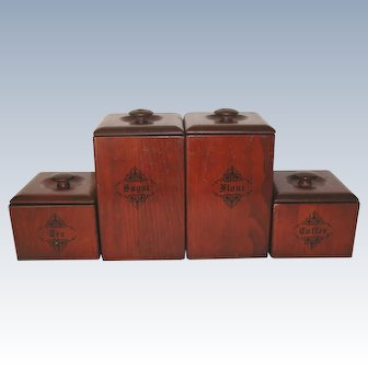 Vintage Set 4 Wooden Canisters With Liners
