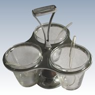 Vintage Glass & Stainless Steel Condiment Rotating  Caddie