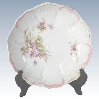 Bavarian Porcelain Violet Large Serving Bowl Early 1900's
