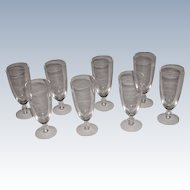Set Of 8 Vintage Quality Glass Goblets
