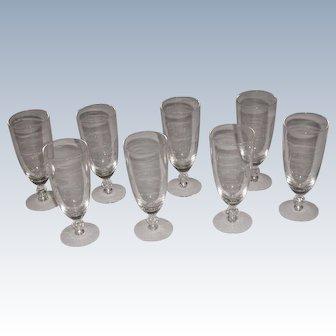 Set Of 8 Vintage Quality Glass Goblets