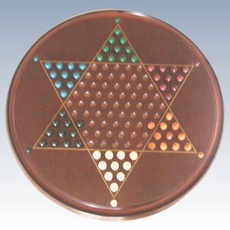 Vintage Wooden Chinese Checkers Board Game