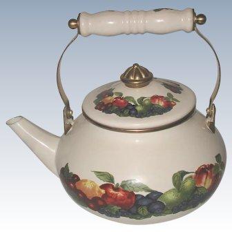 Decorative 20th C Steel Porcelain Enamel Brass Teapot