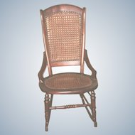 19th C Walnut Caned Rocker