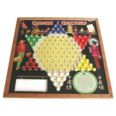 Vintage Wooden Chinese Checkers Game With Marbles