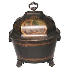 Early 19th Century French Coal Hod Hand Painted