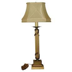 Neoclassical Column Lamp Metal 3 Way 20th C