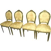 4 Italian Side Chairs 18th C Parlor Set Newly Upholstered