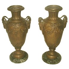 Pair Italian Bronze Urns 19th C Marble Base