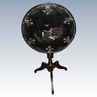 French Papier Mache Tilt Table Inlaid C.1850