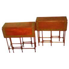 Satinwood Side Tables Gate Leg England 19th C Hand Painted