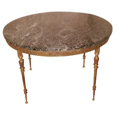 Neoclassical Bronze Coffee Table Marble and Mirrored Removable Tops