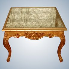 French Coffee Side Table 19th C Gilt Mirrored
