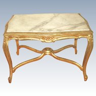 Italian Coffee Table 19th Century Carved Carrara Marble Top