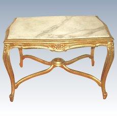 Italian Coffee Table 19th Century Carved Carrara Marble Top