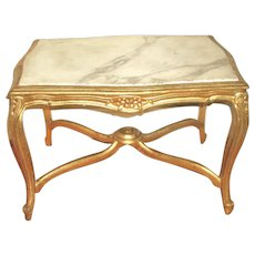Italian Coffee Table 19th C Carved Carrara Marble Top