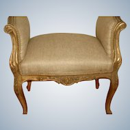 French Gilt Bench 19th Century Hand Carved New Upholstery