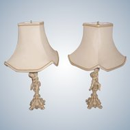 Metal Cherub Lamps Rewired Custom Silk Shades Early 1900's
