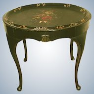 18th C English Side Tole Table Exceptional Painting