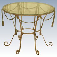 Italian Coffee Table Metal Rope Design Glass Top