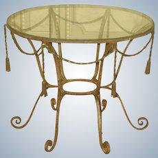 Italian Coffee Table Metal Rope Design Glass Top