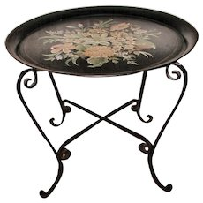Tole Tray Table France 19th C Hand Painted