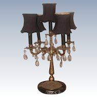 Brass Marble Lamp Prisms France Rewired Early 1900's