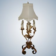 Florentine Gilt Lamp Choice of 2 New Silk Shades Early 1900's