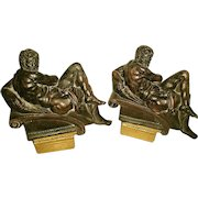 Neoclassical Plaster Bookends Early 1900's Bronze Finish