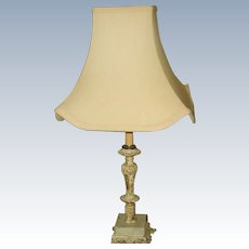 Shabby Chic Lamp Rewired Early 1900's Marble Metal