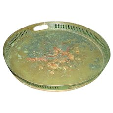 English Tole Tray Metal Hand Painted Early 19th C