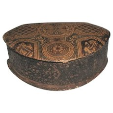 Leather Dresser Box Italy Early 1900's Incised Designs