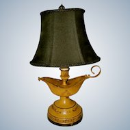 Aladdin Style Tole Lamp Rewired Early 1900's