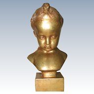 Gilded Plaster Sculpture Young Girl Italy C.1890-1905