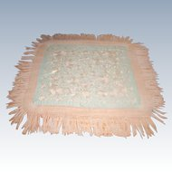 Silk Piano Throw Early 1900's Silk Macrame Fringe