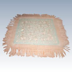 Silk Piano Throw Early 1900's Silk Macrame Fringe