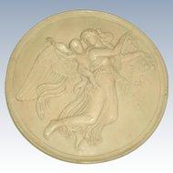 Italian Plaster Medallion Signed 19th Century