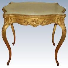 Gilt Alabaster Table C.1850 French Regency Hand Carved