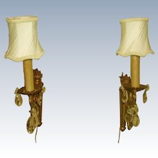 Brass Crystal Sconces France Early 1900's Rewired New Shades