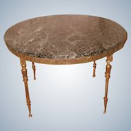 Neoclassical Italian Bronze Coffee Table Marble Top & Mirrored Top