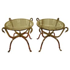 Neoclassical Duck Side Tables Brass Chrome Beveled Glass Pair